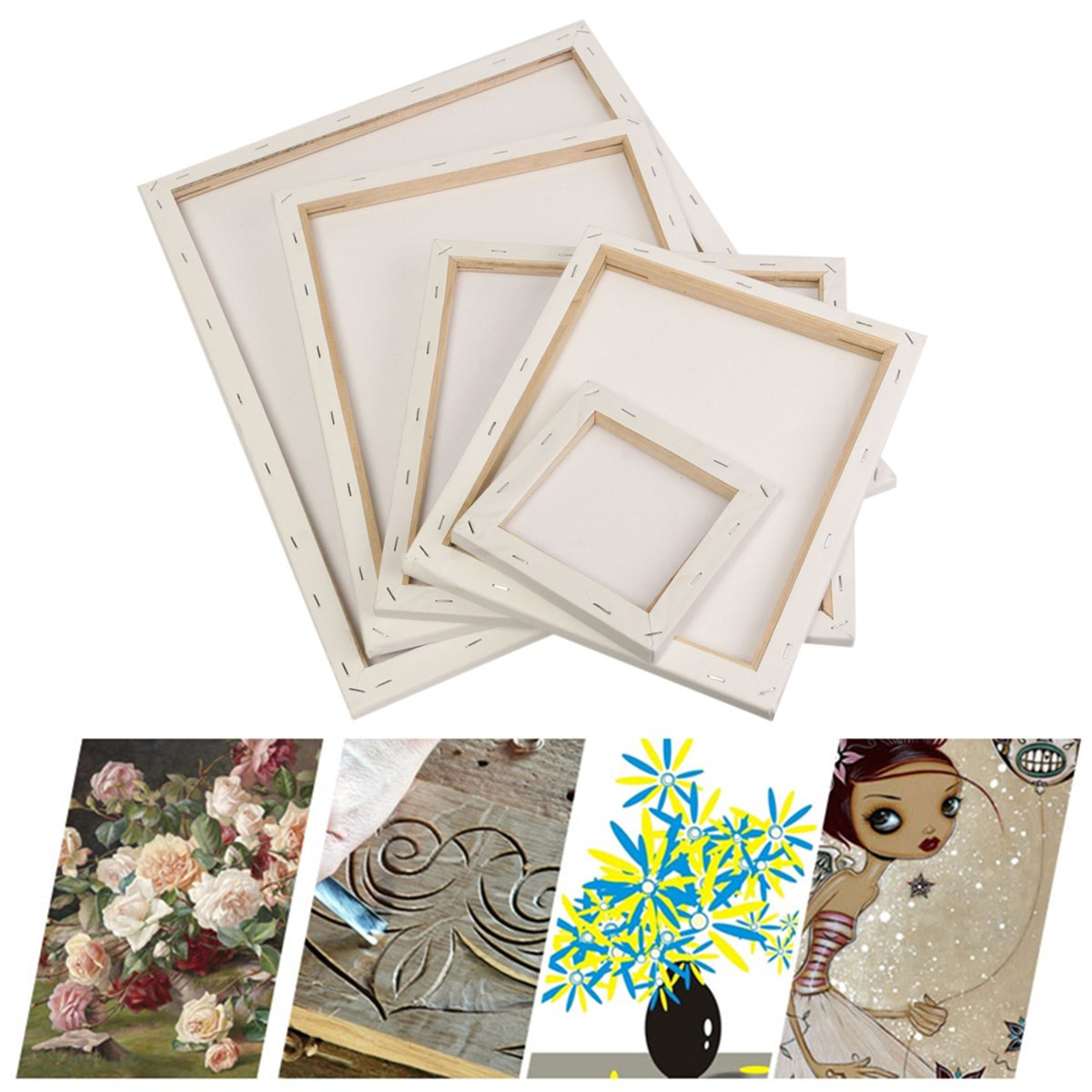 White Blank Square Canvas Painting Drawing Board Wooden Frame For Art Artist